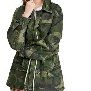 Free People Camo Seize the Day Jacket Sz Large